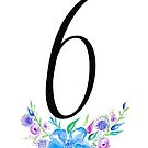 Number 6 with Watercolour Flowers by BbArtworx