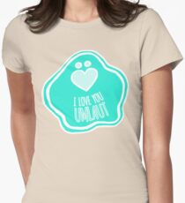 'I Love You Umlaut' Valentine's Pattern - Teal Pale Sea Womens Fitted T-Shirt