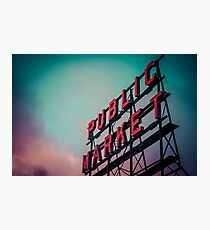 City Architecture Sign Seattle Pike Place Market at Dawn Pacific Northwest City Salmon Washington Travel Vintage Teal Blue Pink Green Photographic Print