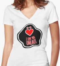'I Love You Umlaut' Valentine's Pattern - Red, White and Black Block Print Women's Fitted V-Neck T-Shirt