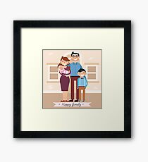 Happy Family with Newborn Baby Framed Print