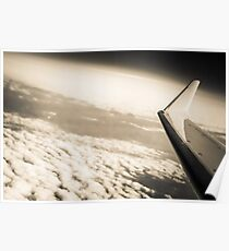 Airplane Clouds and Sky - Black and White Wanderlust Vintage Sky and Plane Poster