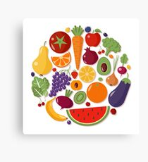 Healthy Food Set of Fruits and Vegetables in Flat Style Canvas Print