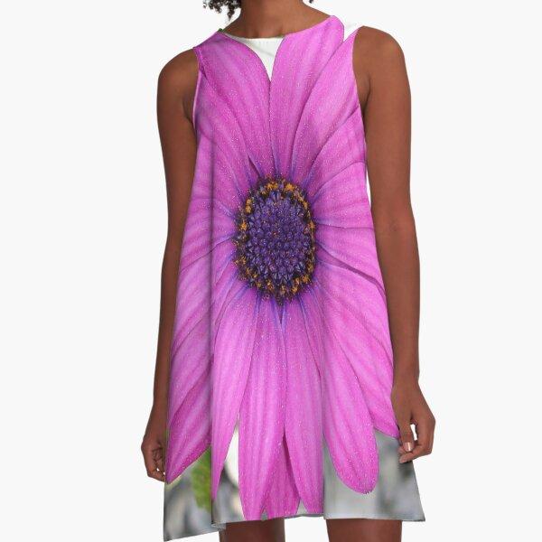 Violet Pink Osteospermum Flower Daisy A-Line Dress