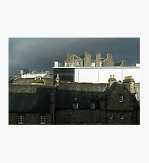 Moody Aberdeen Rooftops - Storm Clouds and Multi-flue Chimneys Photographic Print