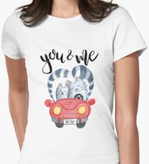 Watercolor cats in just married red car Womens Fitted T-Shirt