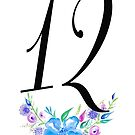 Number 12 with Watercolour Flowers by BbArtworx