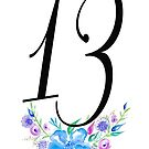Number 13 with Watercolour Flowers by BbArtworx