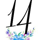 Number 14 with Watercolour Flowers by BbArtworx