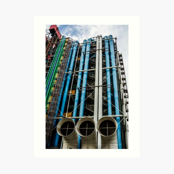 Colored pipelines on the facade of a building Art Print