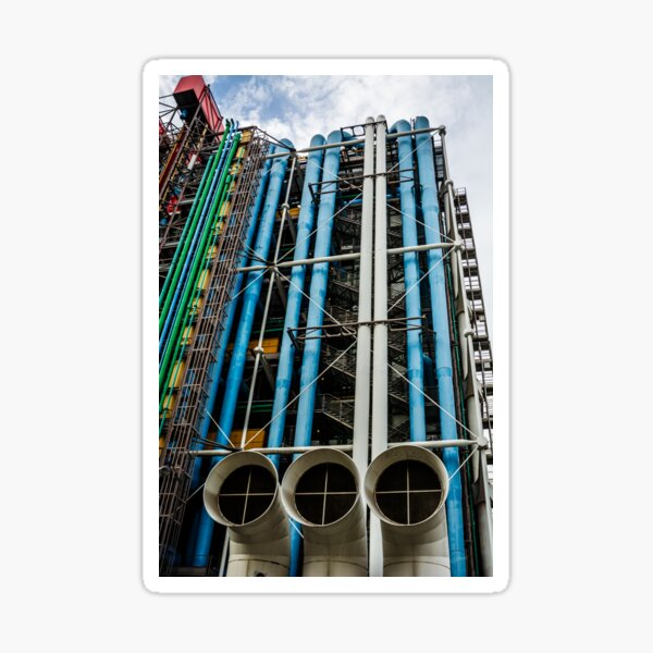 Colored pipelines on the facade of a building Sticker