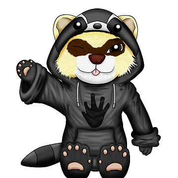 Ferret with Raccoon Hoodie by Fennic
