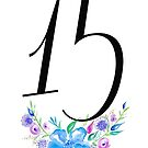 Number 15 with Watercolour Flowers by BbArtworx