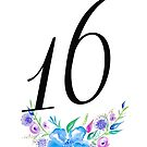 Number 16 with Watercolour Flowers by BbArtworx