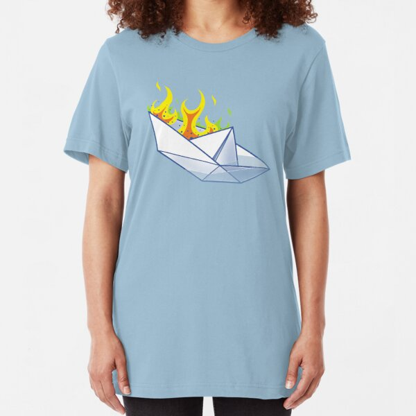 Origami Paperboat Fail Slim Fit T-Shirt