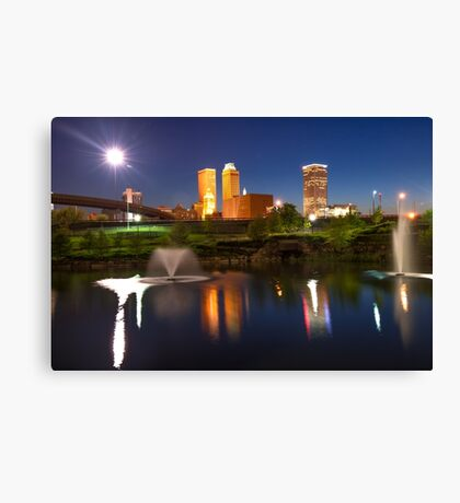 Tulsa Oklahoma Night City Skyline Reflections Canvas Print