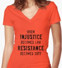 Injustice And Duty Women's Fitted V-Neck T-Shirt