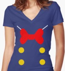 Donald Duck Suit.  Women's Fitted V-Neck T-Shirt