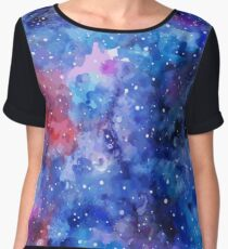 Space hand painted watercolor background Women's Chiffon Top