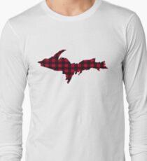 UP Upper Peninsula Michigan Buffalo Check Plaid Yooper  Long Sleeve T-Shirt