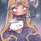 Pink Stars and Sleeping Bunny by Annika Landberg