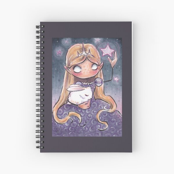 Pink Stars and Sleeping Bunny Spiral Notebook