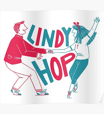 Lindy hop - Swing out  Poster