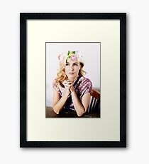 Gillian Anderson Flower Crown Framed Print