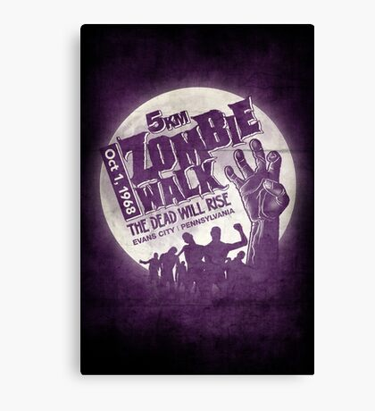 Zombie Walk - White Canvas Print