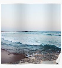 Calm morning ocean waves Poster
