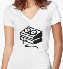 Old-fashioned tape recorder Women's Fitted V-Neck T-Shirt