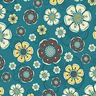 Retro flowers, seamless pattern 01, teal and yellow by Slanapotam