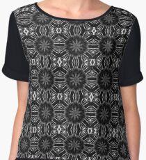 Black Floral Abstract Chiffon Top