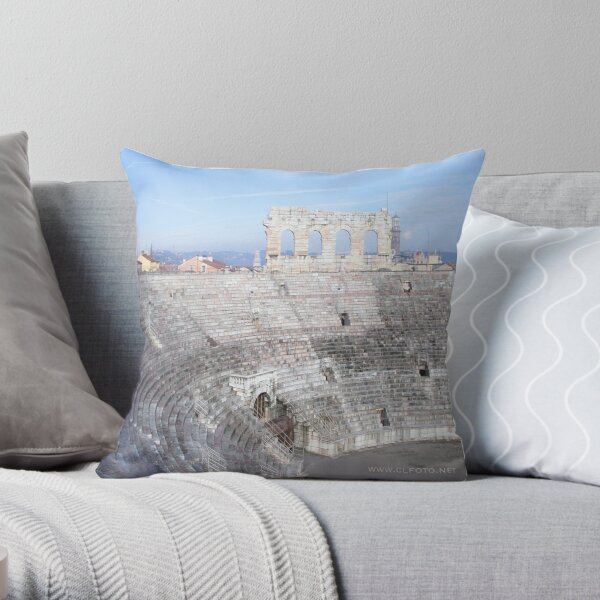 Winter inside L'Arena, Verona, Italy Throw Pillow