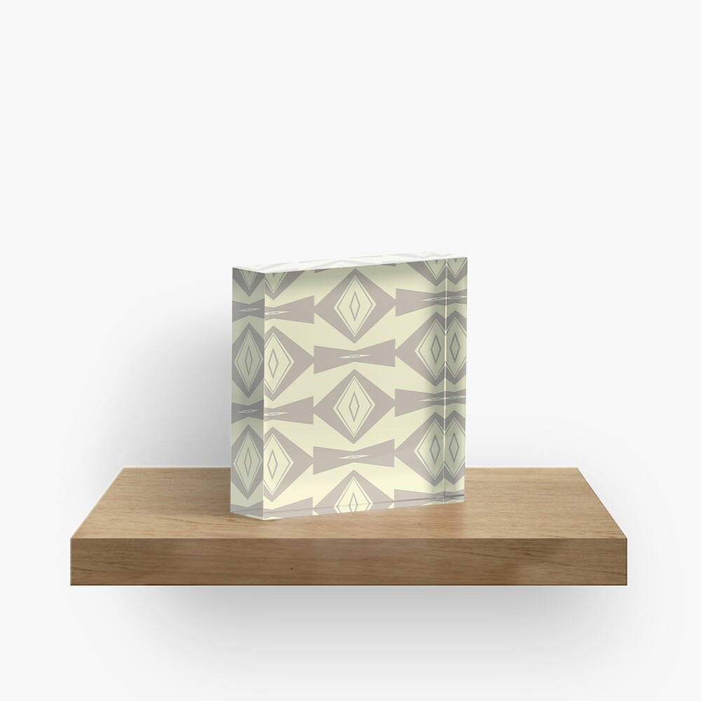 Gray and Cream V Shaped by Julie Everhart Acrylic Block