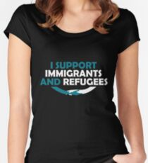 I Support Immigrants and Refugees Women's Fitted Scoop T-Shirt