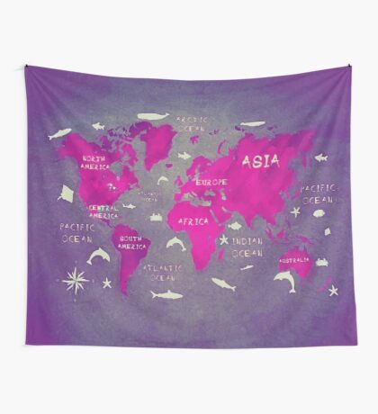 world map 46 Wall Tapestry