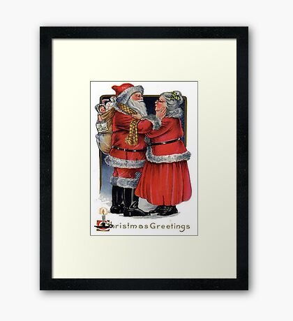 Vintage Christmas Greetings from Mr and Mrs Claus Framed Print