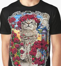 GRATEFUL CATS AND ROSES Graphic T-Shirt