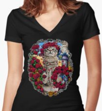 GRATEFUL CATS AND ROSES Women's Fitted V-Neck T-Shirt