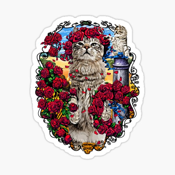 GRATEFUL CATS AND ROSES Sticker