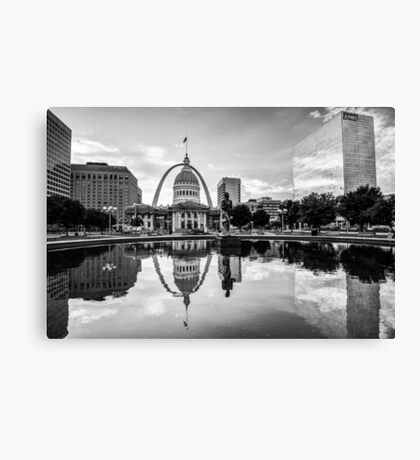 Downtown St. Louis Skyline Morning Sunrise Reflections - Black and White Canvas Print
