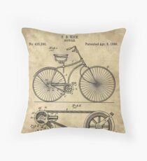 Antique Bicycle Blueprint patent drawing plan, Industrial farmhouse Throw Pillow