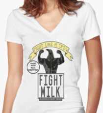 Fight Milk Women's Fitted V-Neck T-Shirt