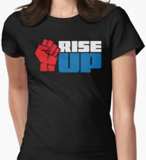 RISE UP (red white blue) Womens Fitted T-Shirt
