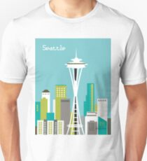 Seattle, Washington in Teal - Skyline Illustration by Loose Petals Unisex T-Shirt