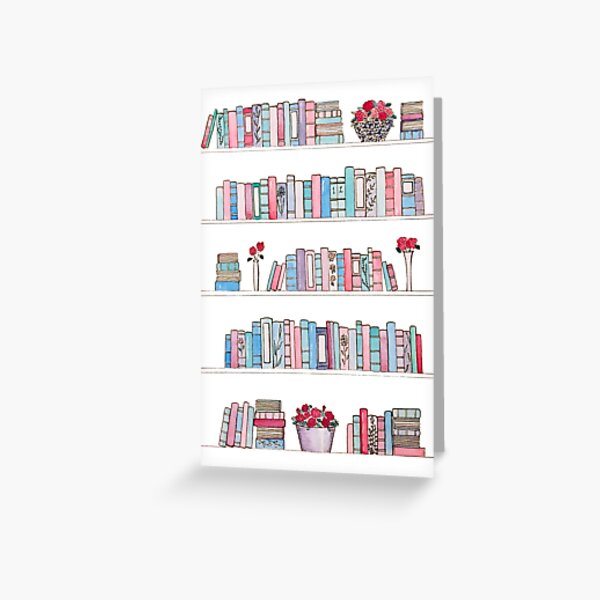 Springtime Bookcase Greeting Card