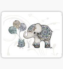Owl & Elephant Mandala Blue Mint Sticker