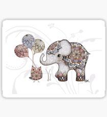Owl & Elephant Mandala Rose Pink Sticker