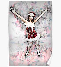 Young sexy woman in red and white mini dress wearing Santa hat Poster